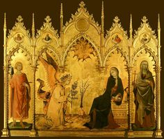 Simone Martini and Lippo Memmi: Picture of Annunciation and Two Saints. - Uffizi Gallery, Florence I am completely fascinated by this painting; tempera on wood, gold gold gold! Seeing it in person was so cool, to look at the details up close.