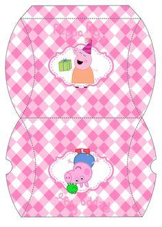 Peppa Pig y su Familia: Cajas Almohada para Imprimir Gratis.