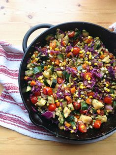 Skillet Corn, Zucchini, and Tomatoes with Basil Oil