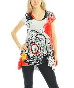 Take a look at the Zac Studio Red Flower Hi-Low Tunic on #zulily today!