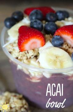 EAT: Acai Bowl #recipe #healthy #breakfast #strawberries #blueberries #bananas #acai