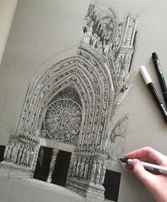 #art #drawing #pen #sketch #illustration #notredame #france #paris #architecture #gothicarchitecture by phoebeatkey
