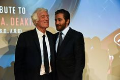 Roger Deakins deeply moved on stage.