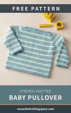 Striped Knitted Baby Pullover [FREE Knitting Pattern] This delightful striped knitted baby pullover will make a lovely gift for a special little person. The classic design of this striped makes it a firm favorite go-to pattern and an Baby Knitting Patterns, Pattern Baby, Baby Booties Free Pattern, Baby Sweater Patterns, Baby Cardigan Knitting Pattern, Knitted Baby Cardigan, Knit Baby Sweaters, Knitted Baby Clothes, Free Knitting