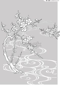 Plum blossoms line drawing plants and flowers vector