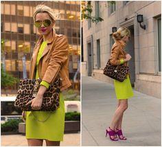 atlantic pacific - neon leopard dress