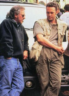 Steven Spielberg and Vince Vaughn on-set of The Lost World: Jurassic Park (1997)