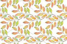 Watercolor rowan leaf plant pattern by Art By Silmairel on @creativemarket
