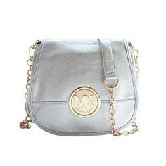 Michael Kors Fulton Pebbled Logo Large Silver Crossbody Bags Outlet - $74.99