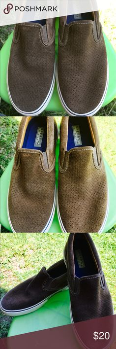 Speedy Too-Sider Leather Slipons Here is a pair of Sperry Top-Sider Shoes. Men's size 9. Dark Tan Leather with tiny holes for ventilation. EUC. Get your Sperry's on! Sperry Top-Sider Shoes Loafers & Slip-Ons