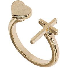 Cross and heart split ring ($9) ❤ liked on Polyvore