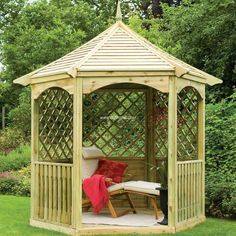 Another wonderful picture description of garden gazebo is presented here to be a source of inspiration with which you can start this project for your own place to get benefit from it. The organic wood color is giving this craft a unique and classy look which ultimately enhances the beauty of your area.