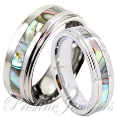 His Hers Tungsten Carbide Men Silver Wedding Band Promise Ring Abalone Shell SET | Jewelry & Watches, Engagement & Wedding, Wedding & Anniversary Bands | eBay!