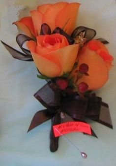 Wedding, Flowers, Orange, Brown, Gold, Corsage, Ninfas flowers gifts