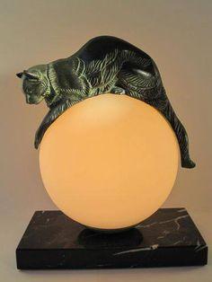 Art Déco - Lampe Boule - Chat - Socle Marbre - Max Le Verrier