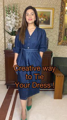 Diy Clothes Life Hacks, Clothing Hacks, Stylish Dress Designs, Stylish Dresses, Indian Fashion Dresses, Fashion Outfits, Diy Belt For Dresses, Diy Fashion Hacks, Fashion Tips