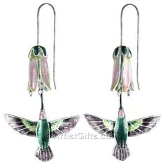 Unique, Three Dimensional Hummingbird Earrings with pink flower in Sterling Silver & Cloisonne Enamel. Shop for more hummingbird jewelry at ArtistGifts.com