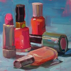 Pink Brigade (SOLD) 6x6 Oil on Gessoboard