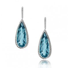 Blue Topaz and Diamond Pear Shape Earring