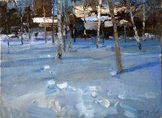 a juicy snow scene. Contemporary Landscape, Landscape Art, Landscape Paintings, Nocturne, Beautiful Paintings, Beautiful Landscapes, Russian Landscape, Painting Snow, Russian Painting