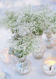 Centerpiece: Baby's breath looks lush as the focal point of your reception tables.
