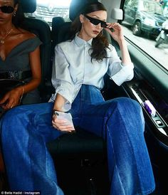 Posing up a storm: Bella Hadid turned a cab ride into an impromptu photo shoot while on a ...