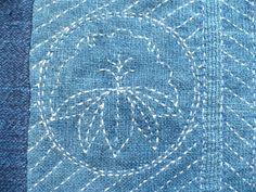 sashiko designs   sashiko on indigo, hand-woven bourette silk