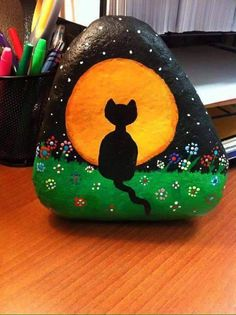 Halloween cat painting on a rock!