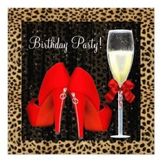 Cocktails Red High Heel Shoes Leopard Birthday Personalized Announcements you will get best price offer lowest prices or diccount couponeDiscount Deals Cocktails Red High Heel Shoes Leopard Birthday Personalized Announcements Online Secure Check out Quick and Easy...