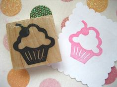 Hand Carved Cupcake Rubber Stamp by DrumChickDesigns on Etsy, $6.00    She made one with my name under it that I stamp on back of cards I hand make.
