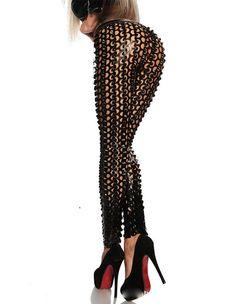 d6bfbfad5755 Sexy Punk Black Scale Shiny Cutout Tights Leggings For Women