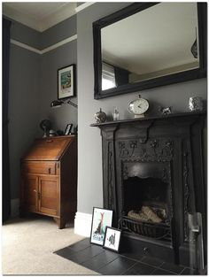 Farrow & ball inspiration gallery * home * in 2019 спальня, Living Room Grey, Home Living Room, Living Room Designs, Living Room Decor, Victorian Living Room, Grey Home Decor, Front Rooms, Room Tiles, Grey Bathrooms