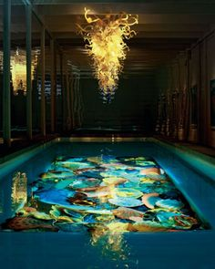 Dale Chihuly chandelier and pool - incredible!