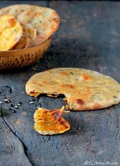 Stuffed Flat Bread | 1/2 cup chickpea flour or besan, 1 ½ cup wholewheat four, 1 large onion, 2 cloves garlic, 2 tsp. shredded mint leaves, 2 green chilies, 1 tsp grated ginger, Salt as desired. Spices; 1/2 tsp turmeric powder, 1/2 tsp. red chilly powder, 1/2 tsp carom seeds (ajwain), Water for kneading, Oil for shallow frying
