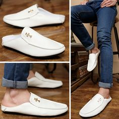 New 2014 men's personalized black/white/blue leather sandals,designer half-slippers summer causal flats shoes,fashion loafers