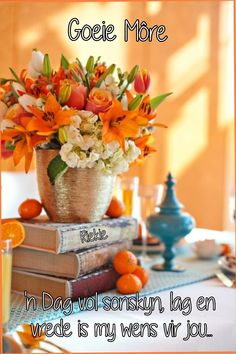 Coral Colour Palette, Coral Color, Teal, Good Morning Messages, Good Morning Wishes, Goeie Nag, Goeie More, Afrikaans Quotes, Table Decorations
