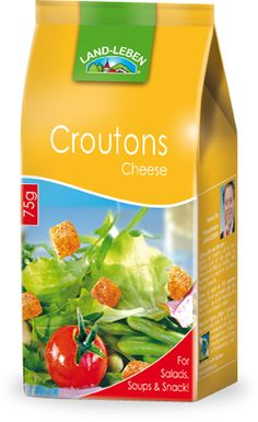 #Croutons – #Cheese | Land-leben  These appetizing, lightly toasted bread cubes in the herb, onion/garlic or natural flavor are perfect for clear or thickened soups, as a garnish for crisp salads, as an accompaniment to delicate appetizers or a topping for cocktails. There's no limit to your imagination.