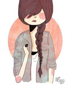 Girl with side braid illustration by Nan Lawson on Etsy #renegadela