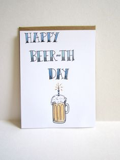 The illustrated Account — Happy Beer-th Day Card, Funny Birthday Card with...