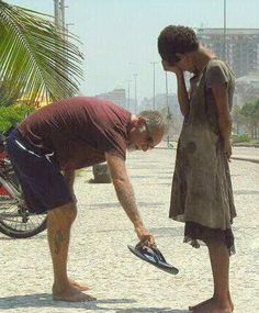 "This moves me deeply...such an act of compassion! Compassion saw a need and filled it! I am reminded of the quote ""I cried cause I had no shoes till I saw the man who had no feet"""