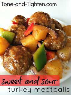 Sweet and Sour Turkey Meatballs from Tone-and-Tighten.com. Ready in less than 30 minutes! #dinner #recipe