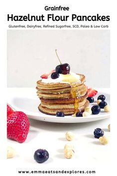 These Grainfree Hazelnut flour pancakes - perfect for Shrove Tuesday / Pancake Day! What's For Breakfast, Perfect Breakfast, Breakfast Recipes, Pancake Recipes, Scotch Pancakes, No Flour Pancakes, Waffles, Almond Joy, Easy Desserts