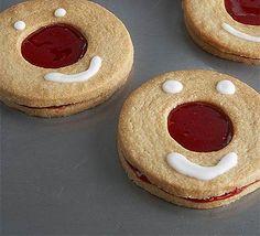 Red Nose Day raspberry cookies - use basic biscuit dough and make a jammy dodger