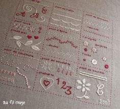 Sampler of stitches, in French