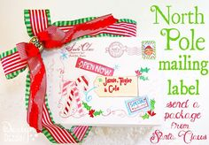 Mailing Label direct from the North Pole! Perfect for Christmas Eve goodies. Kids will love opening up holiday pajamas, Christmas books, hot cocoa, and treats from Santa Clause! Design Dazzle #Christmas #mailinglabel