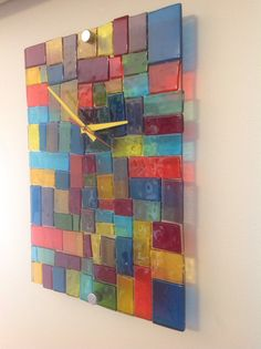 Fused Colourfull Rainbow  Glass Scrap Clock.  😉❤💛💚💙🌈
