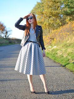 The Grey Month - Topshop polka dot skirt and Zara biker jacket