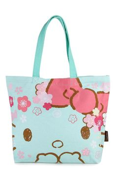 This lovely Hello Kitty canvas tote bag features a sweet cherry and plum  blossom design. 96e20702e6