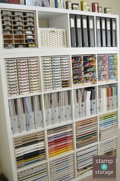 Jeanne combined her IKEA Kallax shelf with Stamp-n-Storage craft organization products in her craft room. Now her paper, punches, markers, and ink pads fit perfectly inside of the shelf cubes and her supplies have their own space! Check out these Stamp-n-Storage products.: