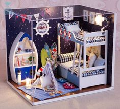 DIY Handcraft Miniature Project Dolls House My Little Boys Ocean Dream Bedroom